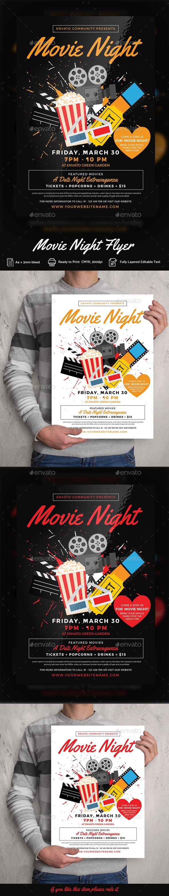 Movie Night Flyer Templates Photoshop Psd School Movie