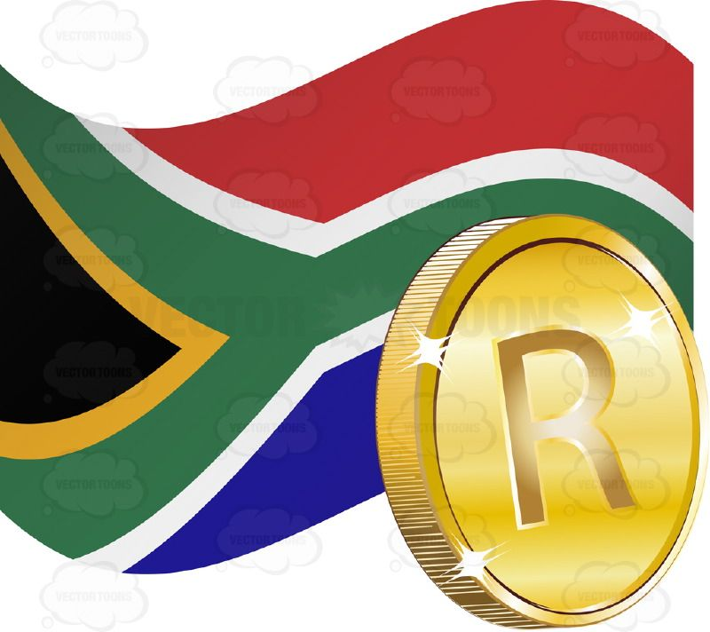 South African Flag With Rand Sign On Gold Coin Africa Banner Coin