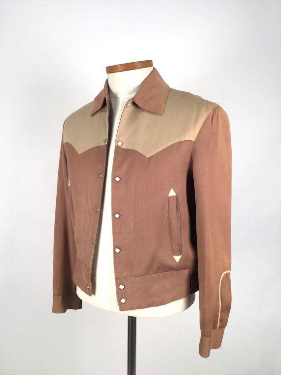 a56031f3345 Vintage 1950 s Jacket Men s Western Jacket Beige by idcmasculine