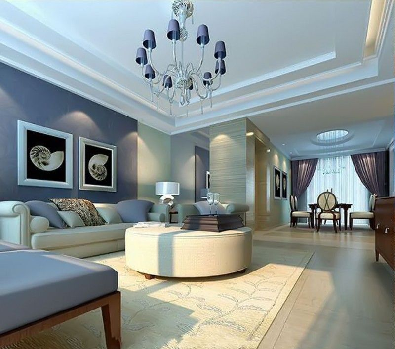 Living Room Deluxe Chandelier With Soft Blue Wall Color For Modern Luxury Interior Design Trends 2015 Based On The