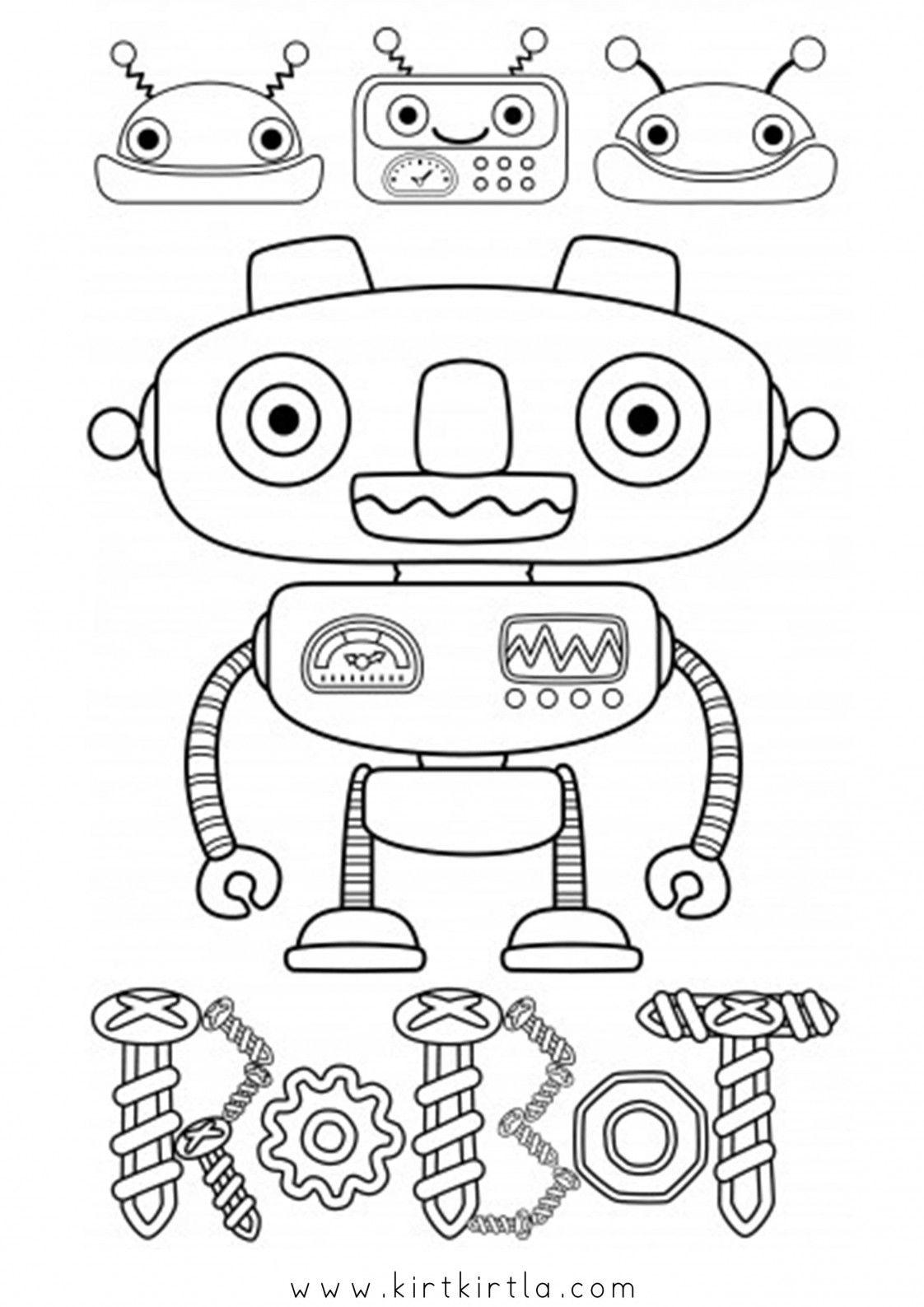 Robot Boyama Sayfalari Kirtkirtla Robot Boyama Kagidi Boyama Sayfalari