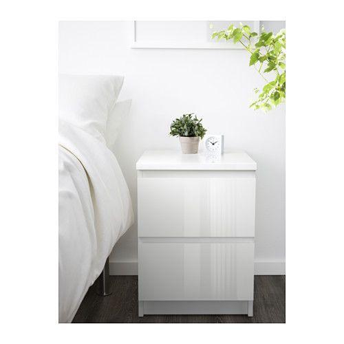 Malm High Gloss White White Chest Of 2 Drawers 40x55 Cm Ikea White Gloss Bedroom Furniture White Gloss Bedroom White Bedroom Furniture