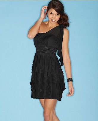 36566e506fe2a Roberta Dress, Sleeveless One Shoulder Metallic Studded Ruffled Chiffon - Juniors  Dresses - Macy's