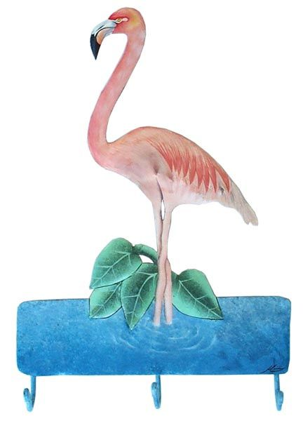 Flamingo Wall Hook Tropical Metal Art Painted Bathroom Decor Metal Hook 12 X 19 Tropical Decor Tropical Home Decor Tropical Design