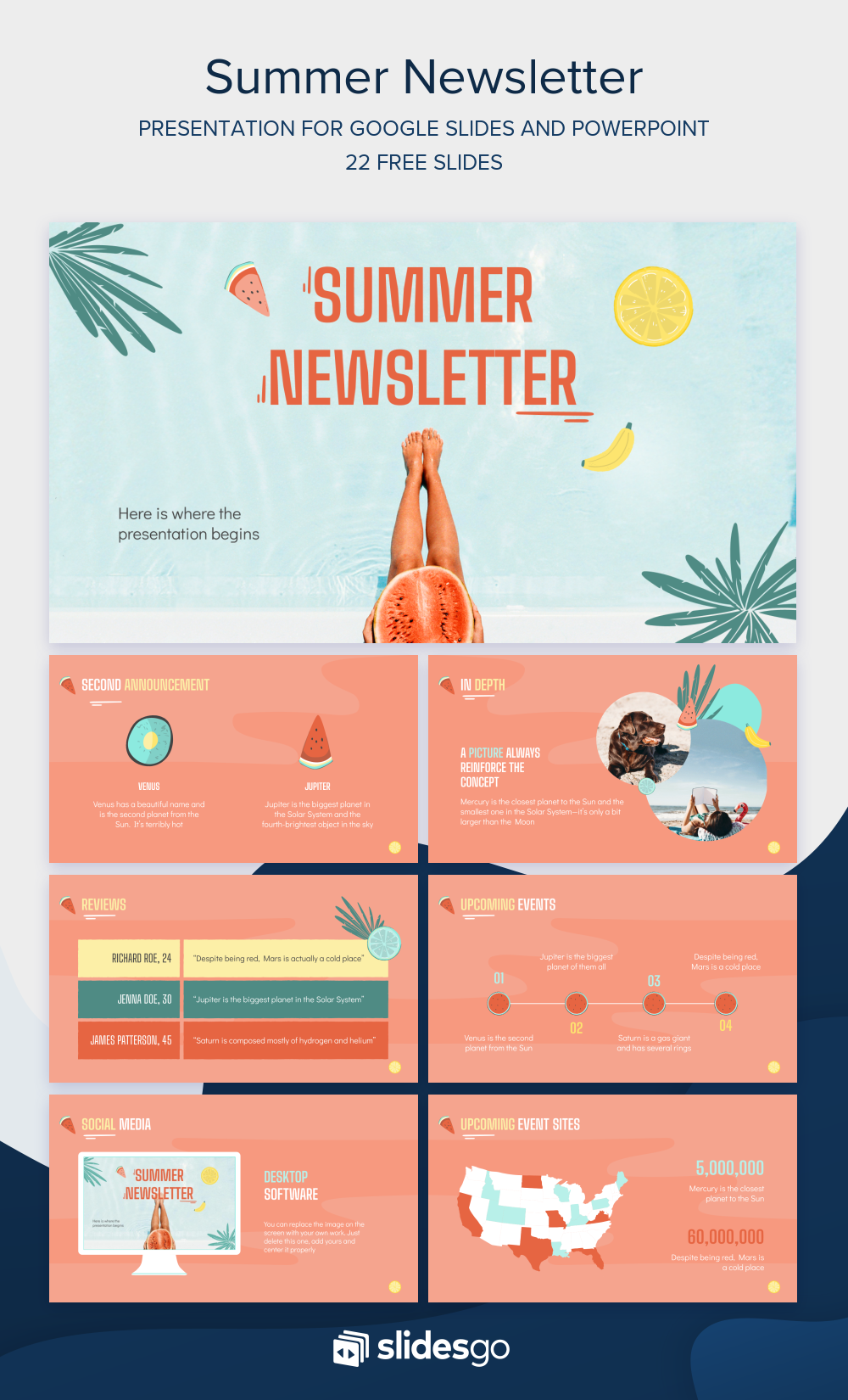 Have Fun With This Summer Newsletter Template Available As Google Slides Theme And Powerpoint Google Slides Themes Newsletter Templates Marketing Presentation