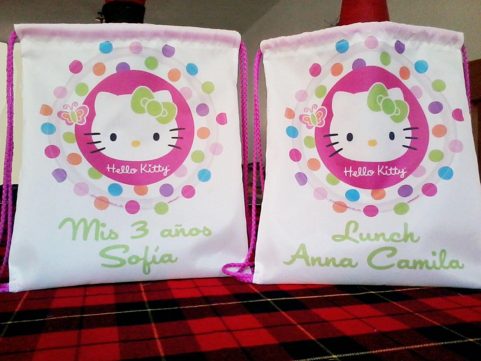 Morralito lunchera hello kitty personalizado 30 x 32 cm - Recuerdos para cumpleanos ...