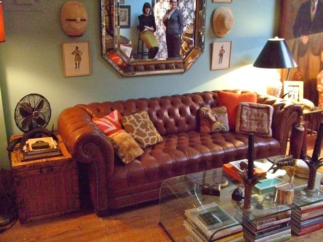 Vintage Eclectic Living Room Quilted Cognac Leather