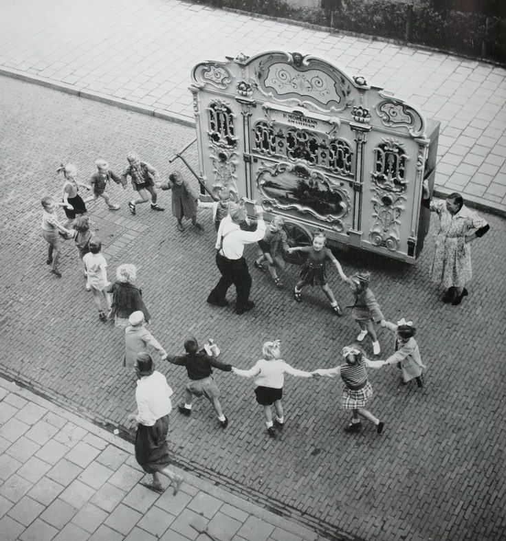 On a European street with kids