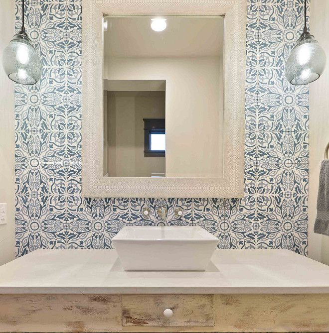 Bathroom With Blue And White Cement Tile With Images Tile Accent Wall Cement Tiles Bathroom Feature Tiles