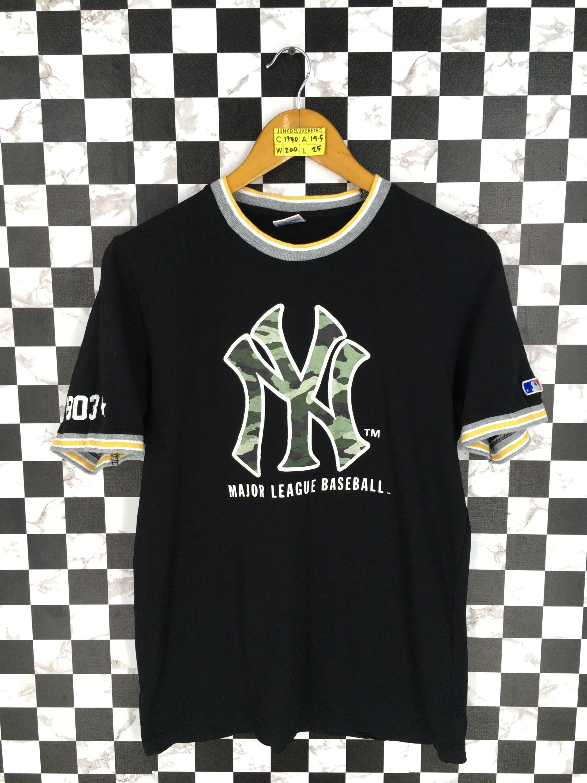 9001d0cc New York YANKEES Baseball T shirt Women Large Vintage 90s NY Yankees  Baseball Mlb Black 90s Tshirt Ringer Size L by JunkDeluxeRetro on Etsy