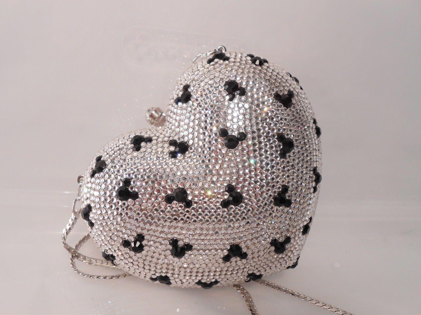 Disney Mickey Mouse Swarovski Judith Leiber ~ Minaudiere Heart Clutch
