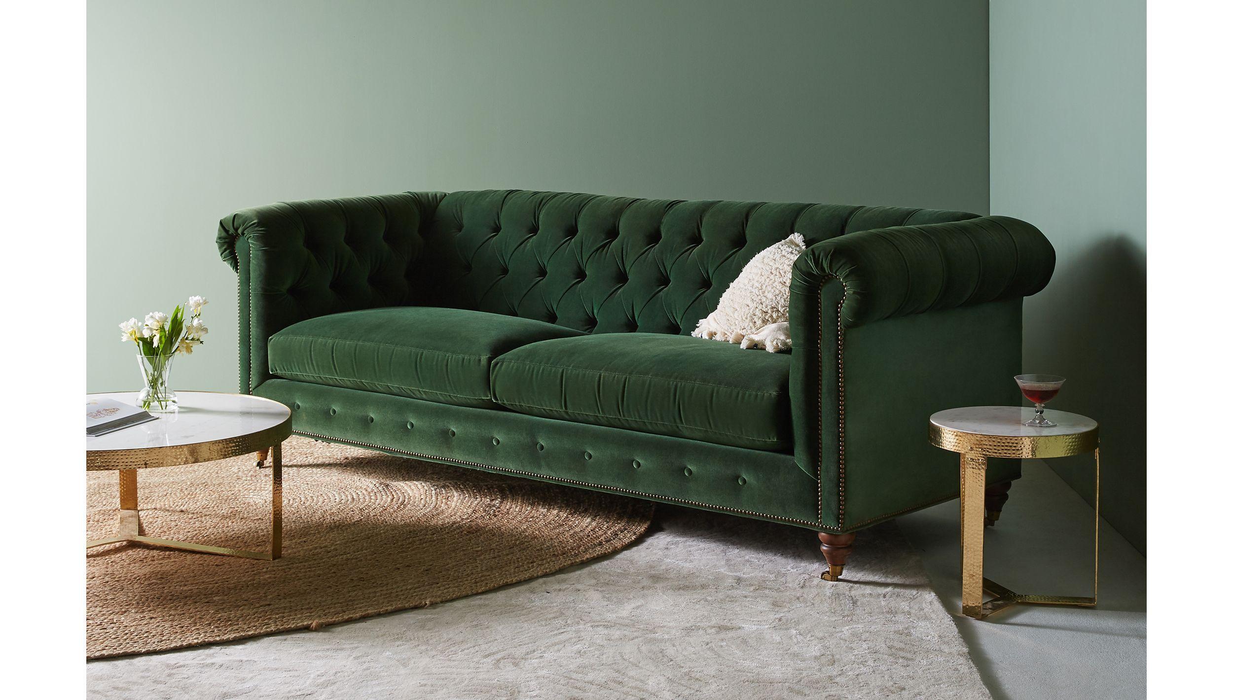 Lyre chesterfield twocushion sofa in mah homie cushions on