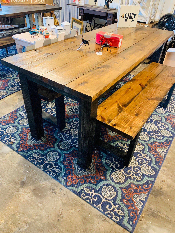 Rustic Mid Century Modern Narrow Farmhouse Table With Benches Etsy Farmhouse Table With Bench Wooden Kitchen Table Farmhouse Table