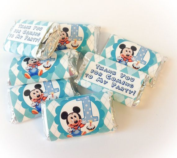 100 Baby Mickey Mouse 1st Birthday Personalized Hershey S Mini Candy Bar Wrappers Party Favors On Etsy 14 95 With Images Mickey Mouse 1st Birthday Mickey 1st Birthdays