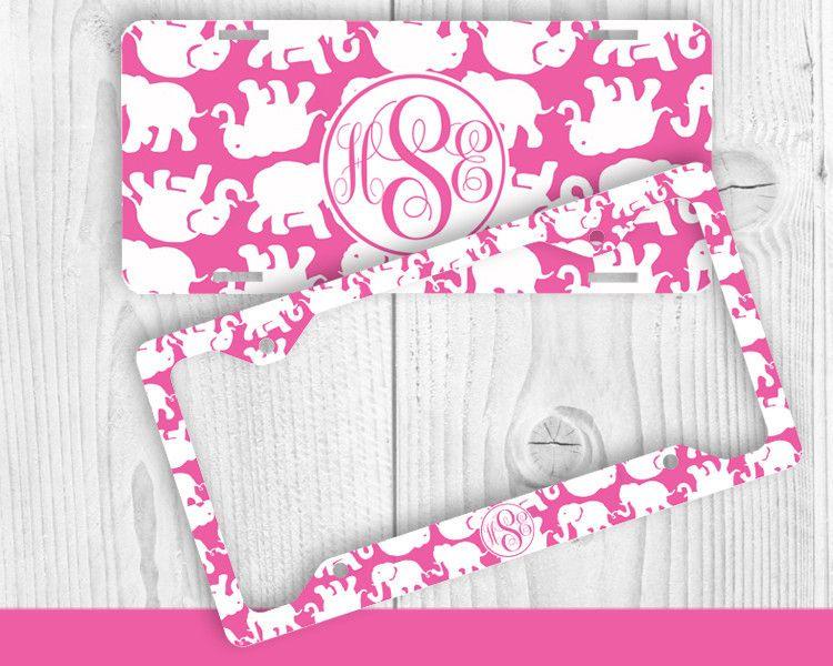 Hot Pink Elephant Monogram License Plate Frame Holder Metal Wall ...