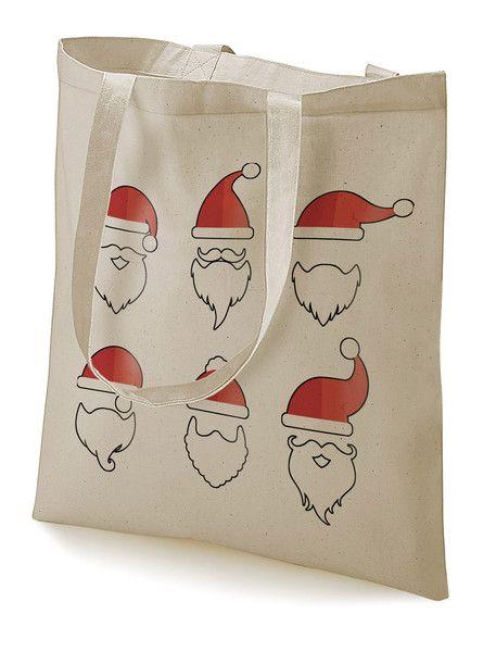 """Turnbeutel - Stoffbeutel """"Santa beards collection"""" natur  - ein Designerstück von MAD-IN-BERLIN bei DaWanda"""