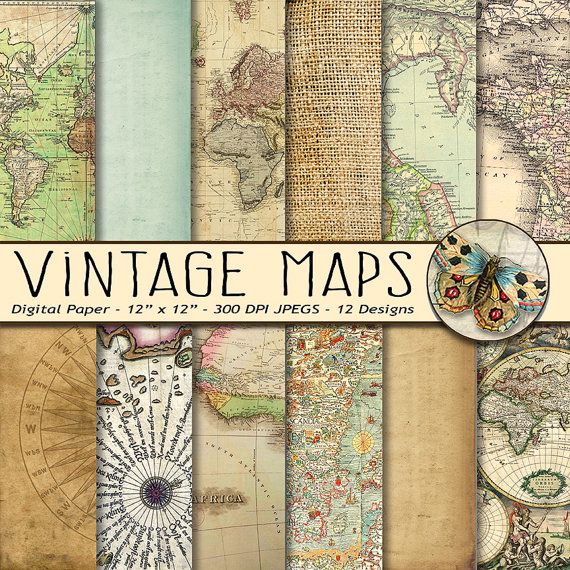Vintage Maps Digital Paper Old World Maps Old By TheArtBoxDesigns - Parchment paper map of us