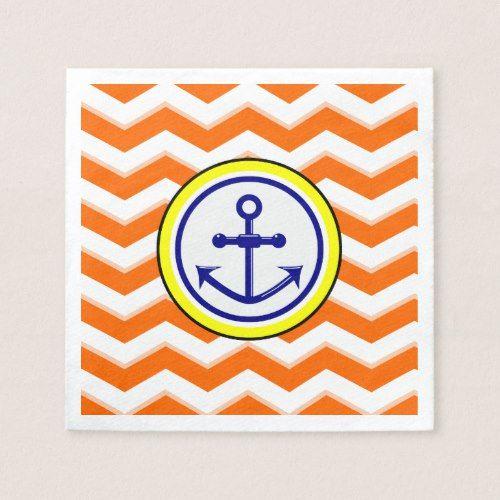 Party Linens Chicago Il: Navy Blue Chevron Anchor Narrow Black Roundel Napkins