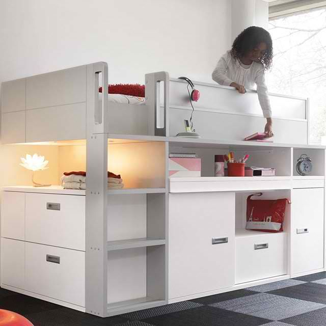 Compact Top Bunk Bed Of Collection Dimix By Gaultier I Would Have Loved This Bed When I Was A Kid Bunk Beds With Stairs Small Spaces Bunk Bed Kids Bunk Beds