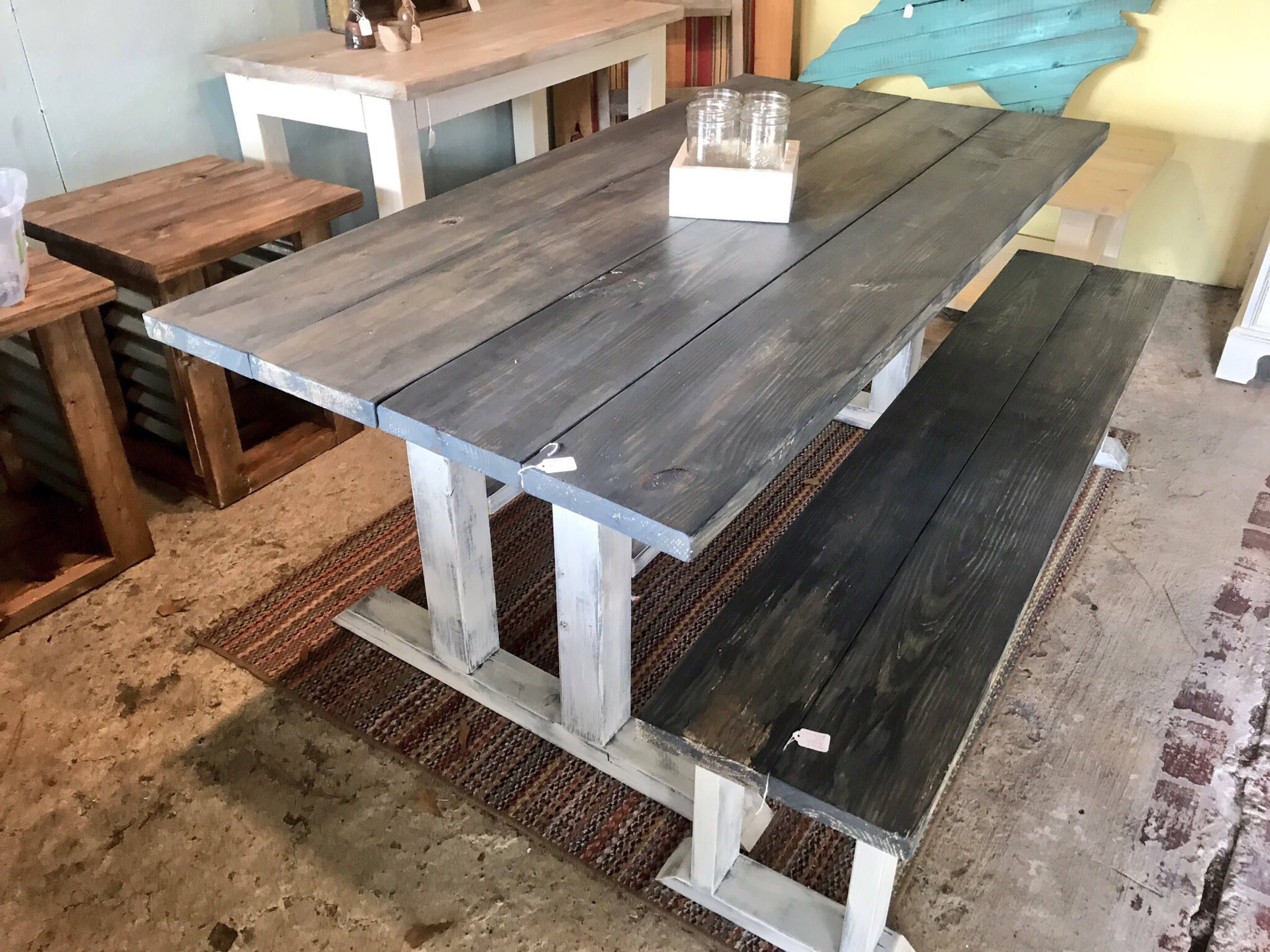 Rustic Pedestal Farmhouse Table With Long Bench Charcoal Gray With