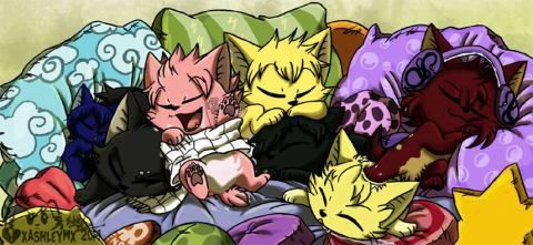Neko Wendy, Gajeel, Natsu, Laxus, Cobra, Rogue, and Sting
