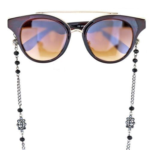 b89ca7422392a Cordinha Grafite para Óculos e Pescoço com Camurça Preta
