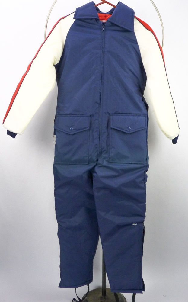 383e92499bec4 Vintage 70s JC Penney Blue Stripe Nylon Winter Snow Suit Snowmobile  Coveralls S  JCPenney