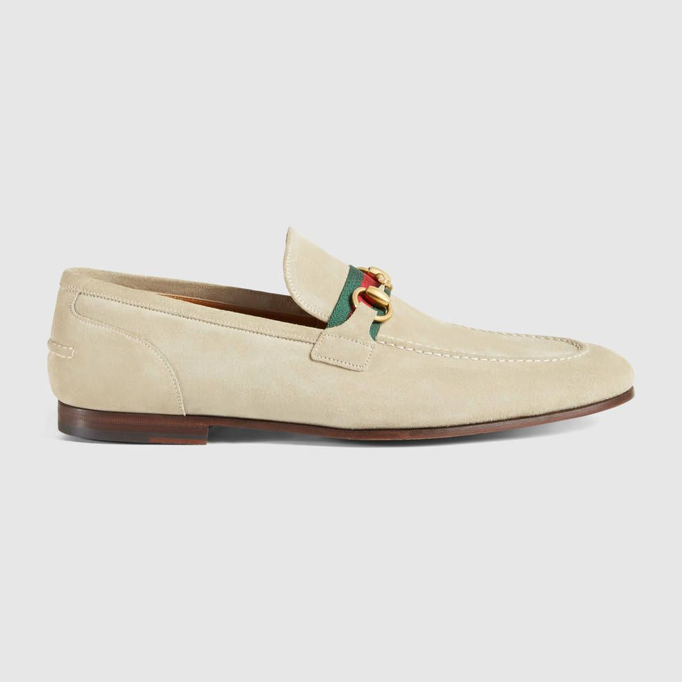 a922d6332169 Horsebit suede loafer with web