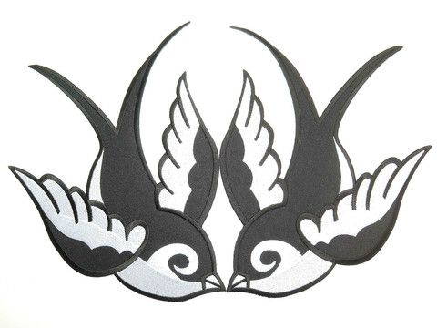 Pair Of Black Swallows Rockabilly Kitsch Iron//Sew on Embroidered Patch