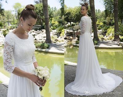 3/4 Sleeves Modest Lace Chiffon Wedding Dress Bridal Gown Custom ...