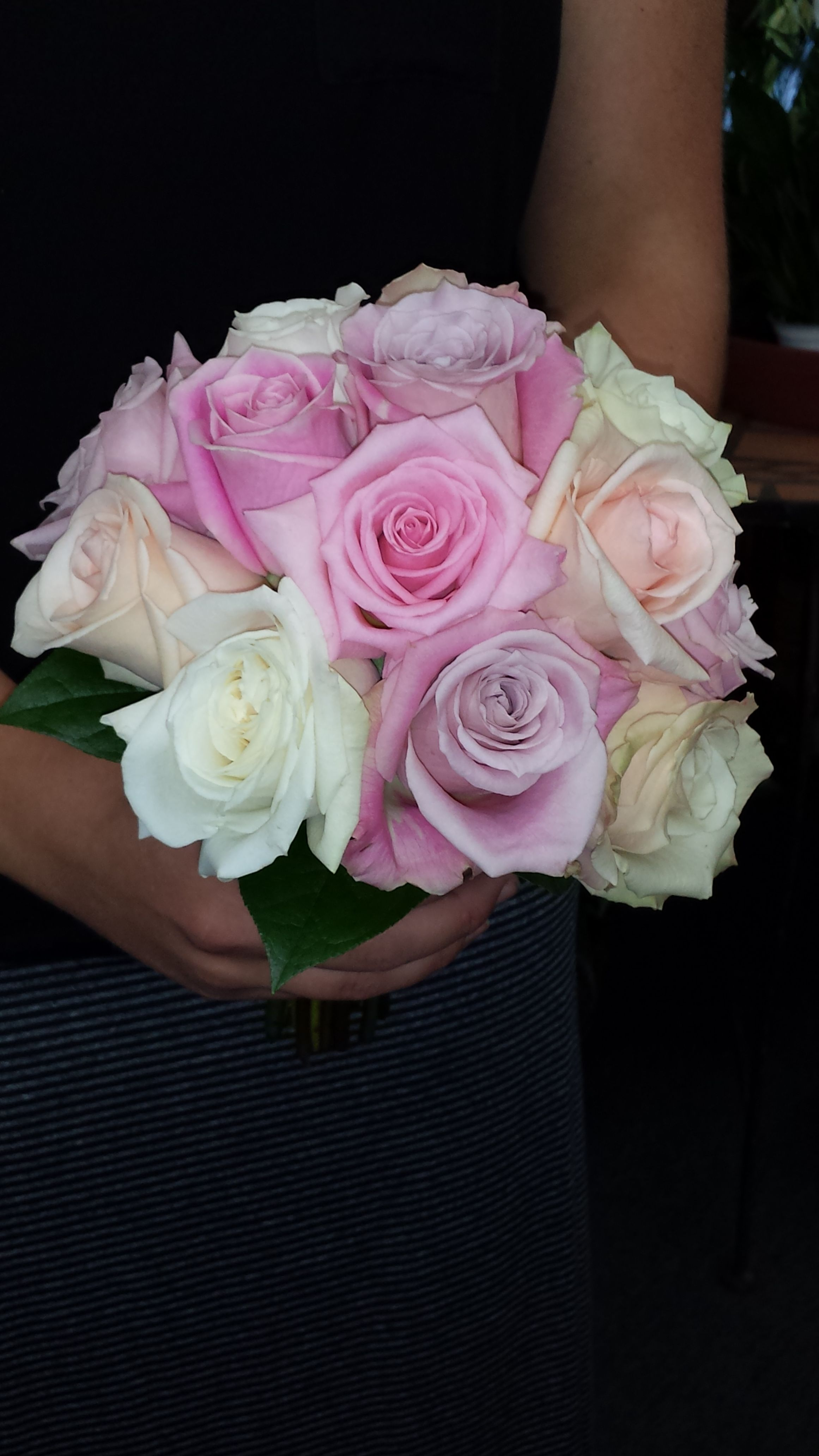 Bridesmaid bouquet of different shades of pink and white roses bridesmaid bouquet of different shades of pink and white roses flowers by candlelight floral izmirmasajfo Gallery