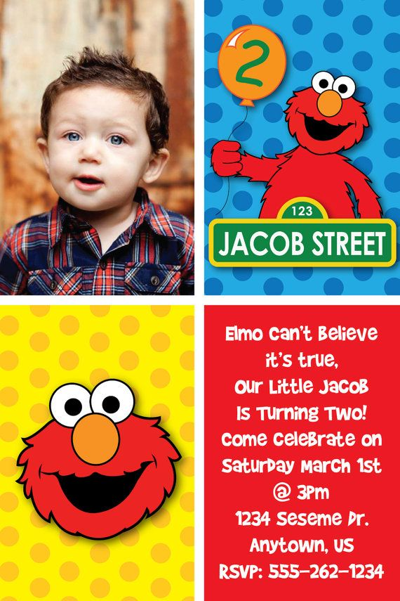 Custom Elmo Inspired Birthday Party Invitations or thank you cards ...