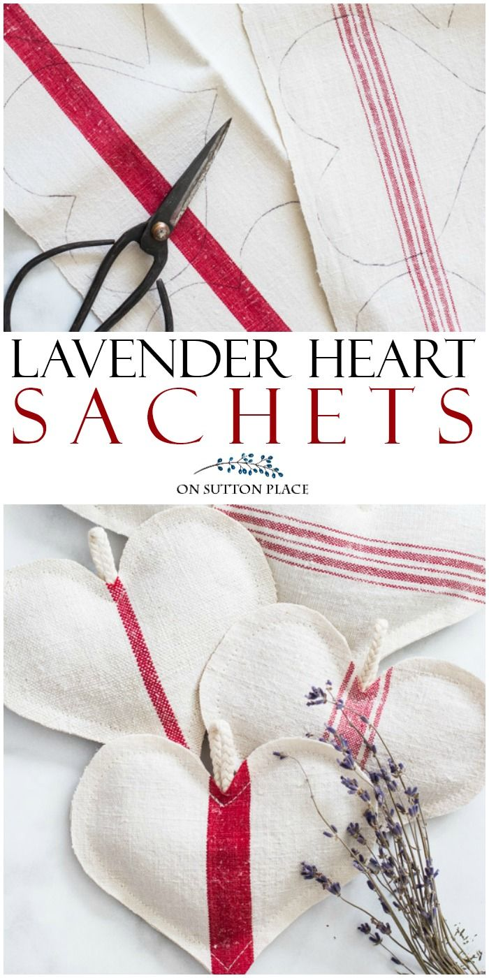 DIY Grain Sack Lavender Heart Sachets - On Sutton Place