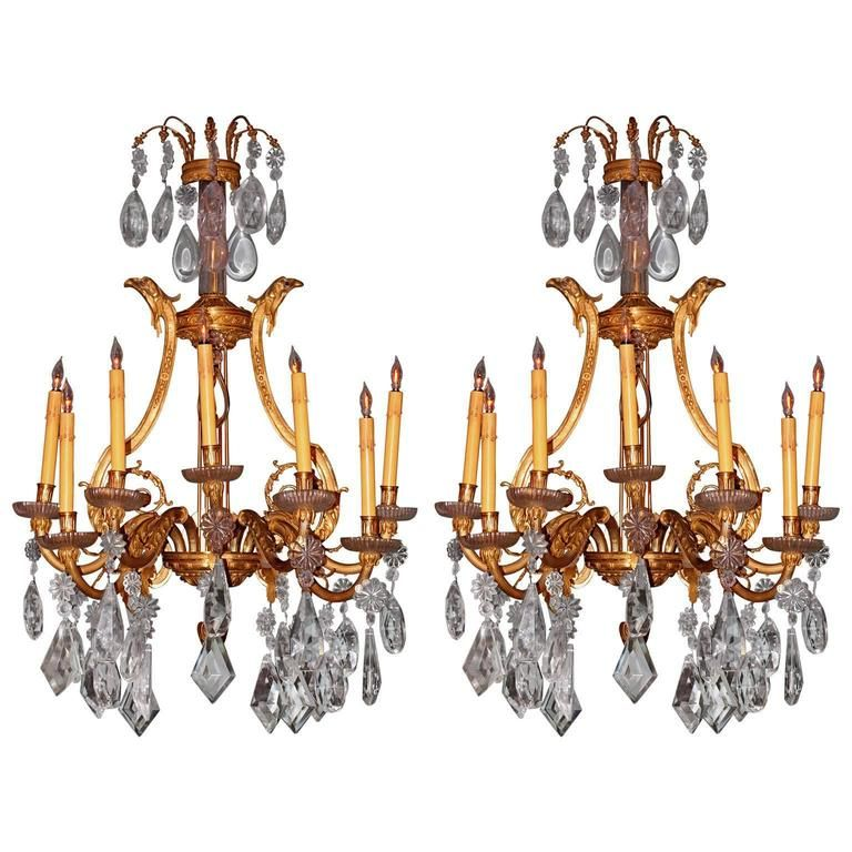 Pair Of 1stdibs Wall Lights Sconces 19th Century Dore Cut Crustal French French Provincial Bronze Crystal Products In 2019 Crystal Sconce Sconces Wa