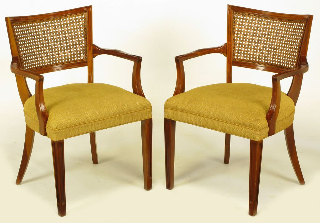 chair curved cane back Pair Carved Mahogany CaneBack