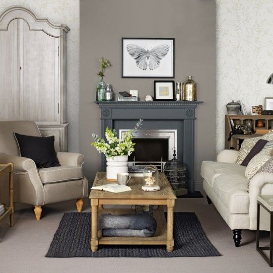 Grey Brown Wall Dark Rug Wood Living Room