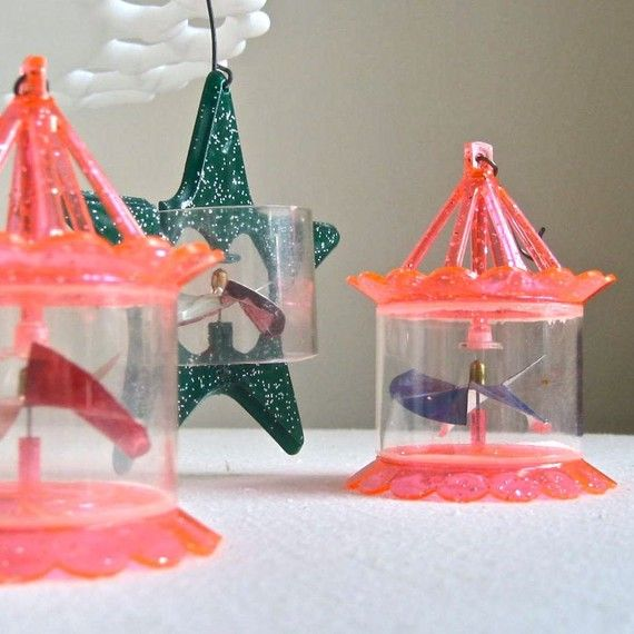 Three Vintage Spinner Christmas Ornaments, 1950s, memories of these spinning  from the heat of the old bigger Christmas tree lights. - Vintage Spinner Christmas Ornaments, 1950s Mid Century Bird Cage Set