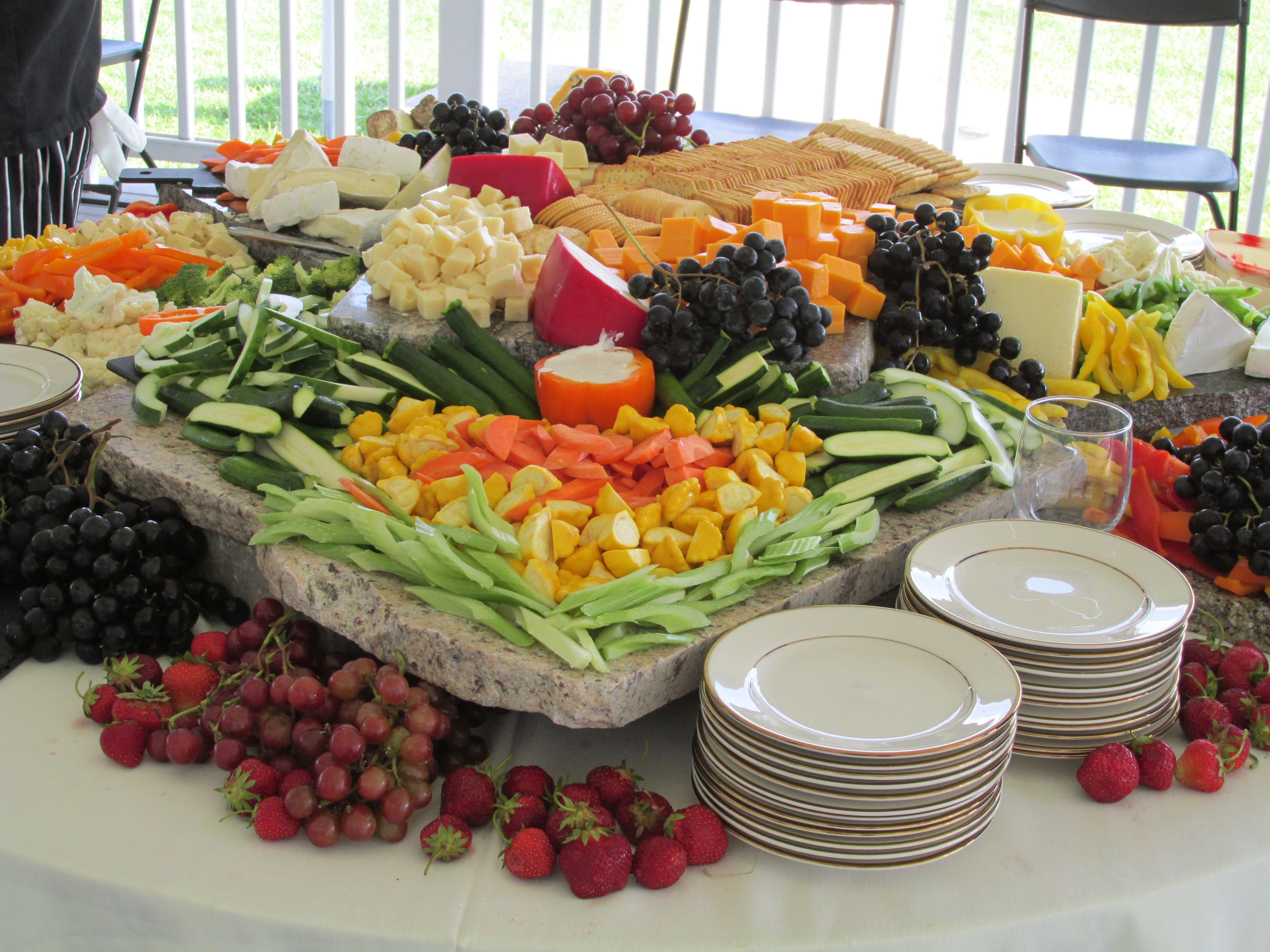 Cheese crackers fruit and vegetable crudite display a perfect stop for your guests during - Decoration crudites pour buffet ...