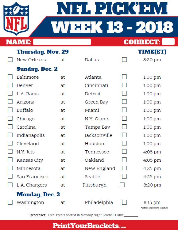 Nfl Week 13 Pick Em Sheet In Color Nfl Week Fantasy Football Nfl