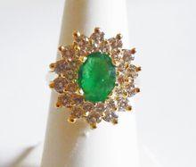 Emerald & Diamond Ring in 14k Yellow Gold ~ circa late 1980's $2900.00