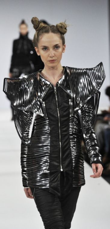 Sculptural Fashion - avant garde suit with laser cut panels; futuristic fashion armour // Shinsuke Mitsouka