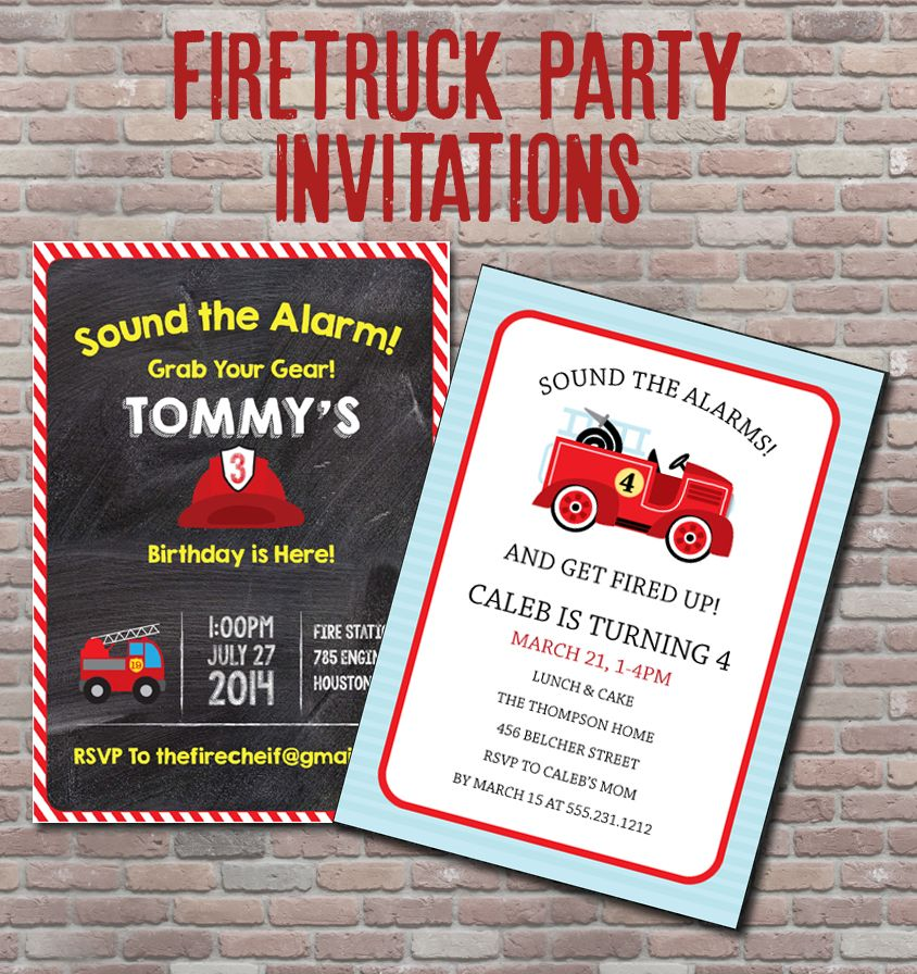 Firetruck party invitations, available in both digital and ...
