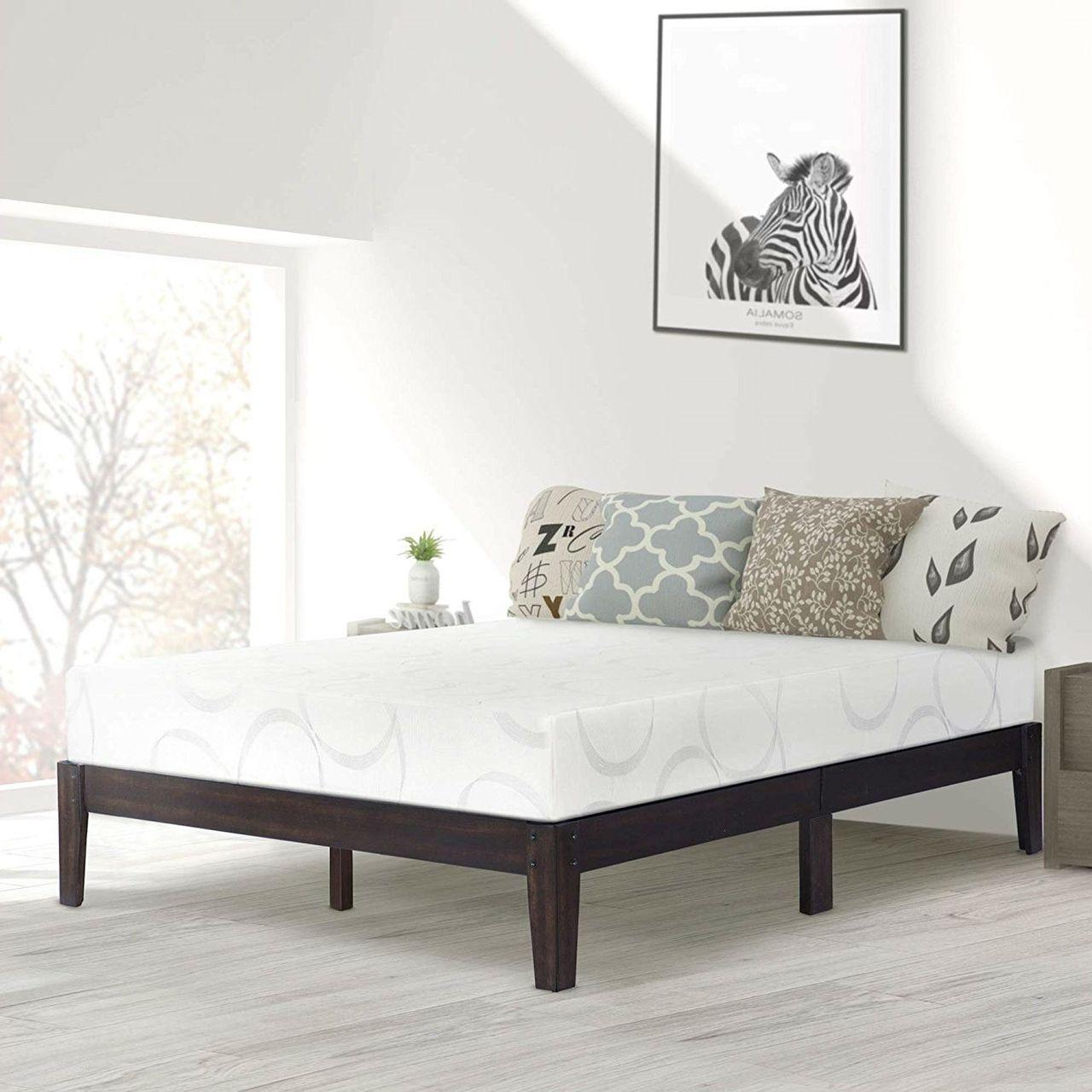 Full size Solid Wood Platform Bed Frame in Black Finish
