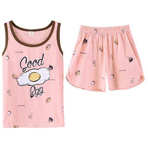 f446aaeaa6aab KEIA Big Girls Teen Girls Cartton Egg Sleeveless Summer Pajamas Set Casual  Sleepwear