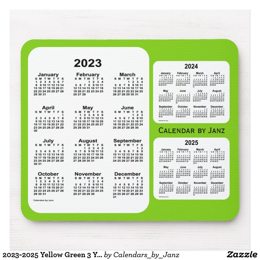 2023 2025 Yellow Green 3 Year Calendar By Janz Mouse Pad Zazzle