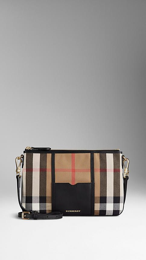 f766c6175e0 Burberry Black House Check and Leather Clutch Bag - House check cotton clutch  bag with smooth sartorial leather panel. Top zip closure and detachable ...