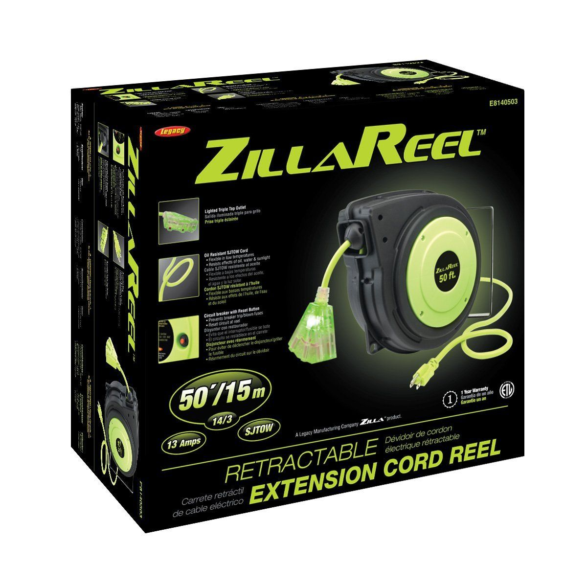 E8140503 Standard Flexzilla ZillaReel 50 ft Retractable Extension Cord Reel