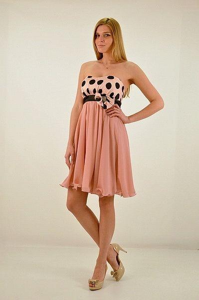 7790c8359efb Φόρεμα κοντό στράπλες ή με ράντες αμπίρ