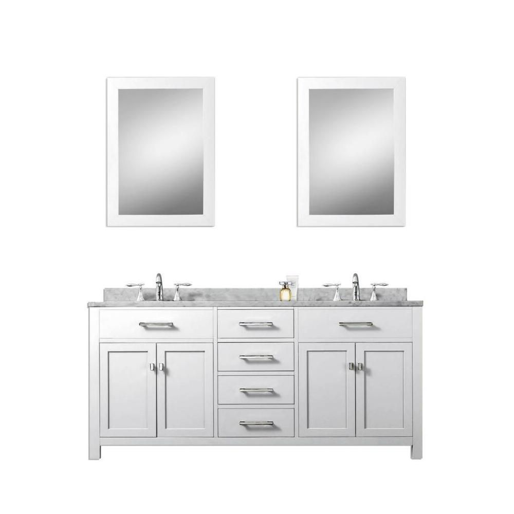 Madison Solid White Double Sink Bathroom Vanity With Two Matching