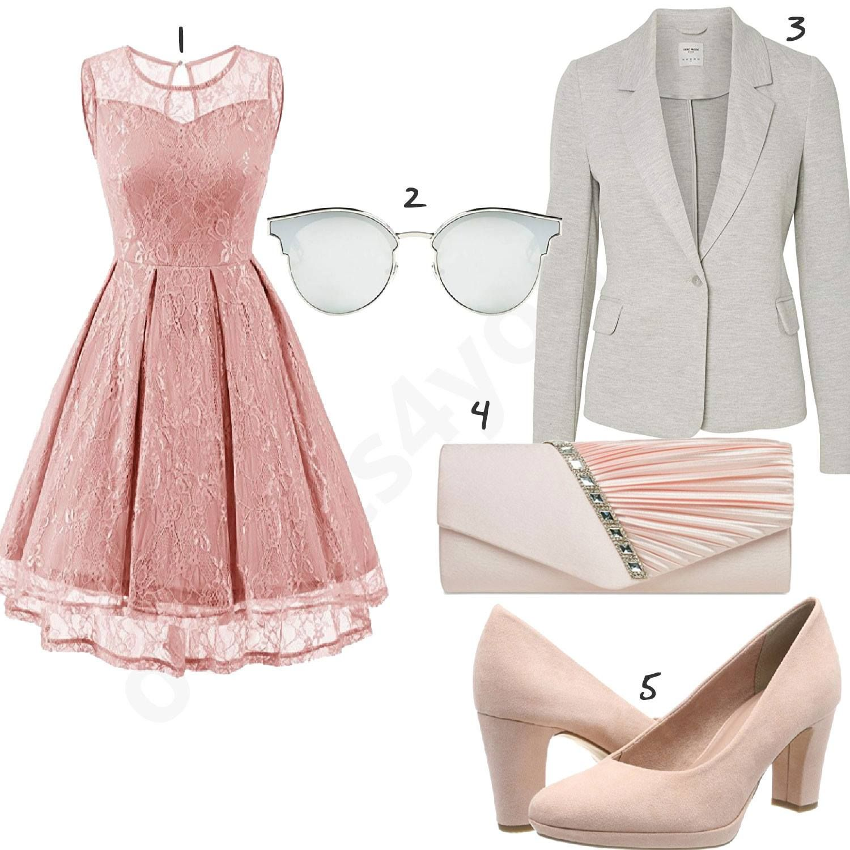 Damenoutfit mit rose Kleid, Clutch und Pumps - outfits18you.de
